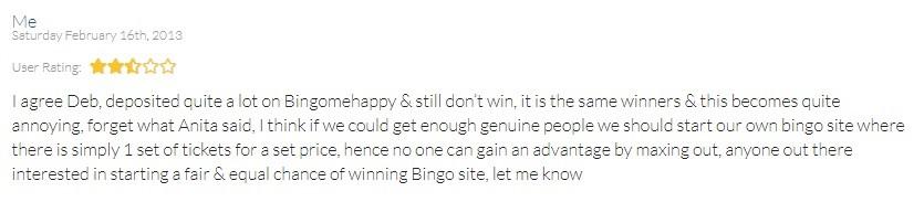 Bingo Me Happy Player Review 4
