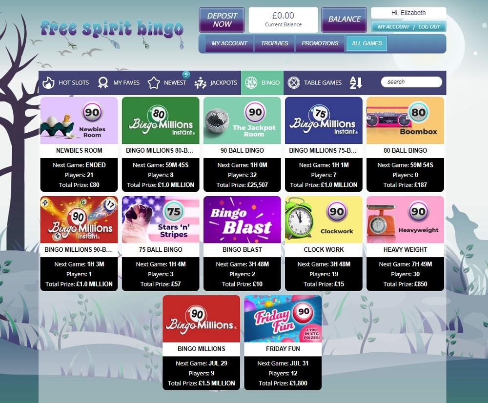 Free Spirit Bingo Members Area