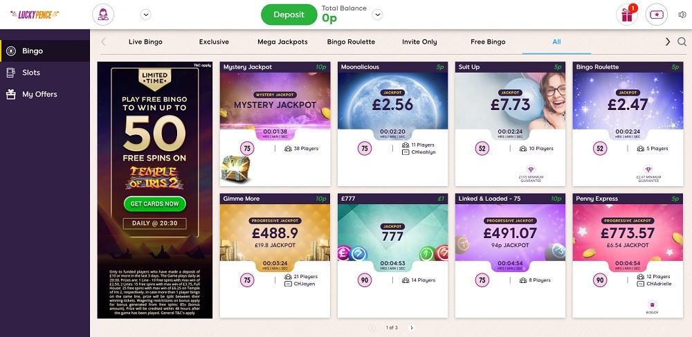 Lucky Pence Bingo Members Area