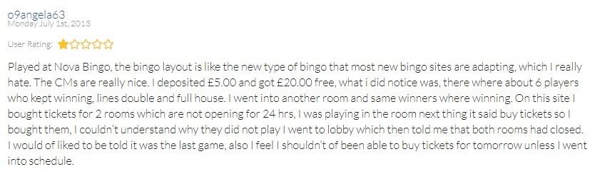 Nova Bingo Player Review 2
