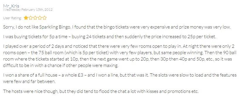 Sparkling Bingo Player Review 2