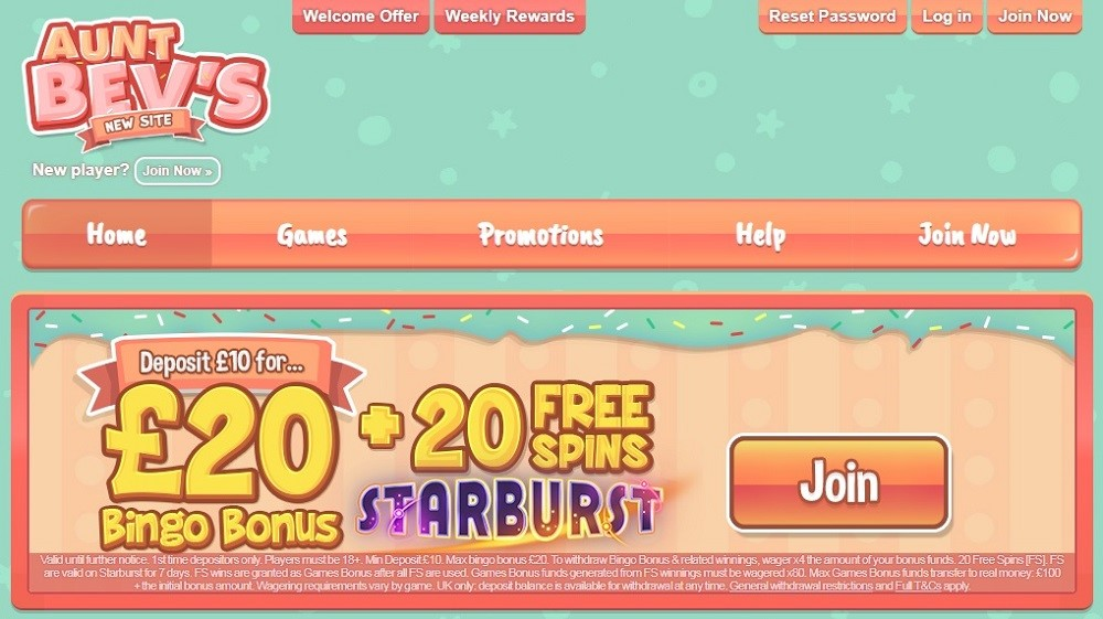 Aunt Bevs Bingo Website