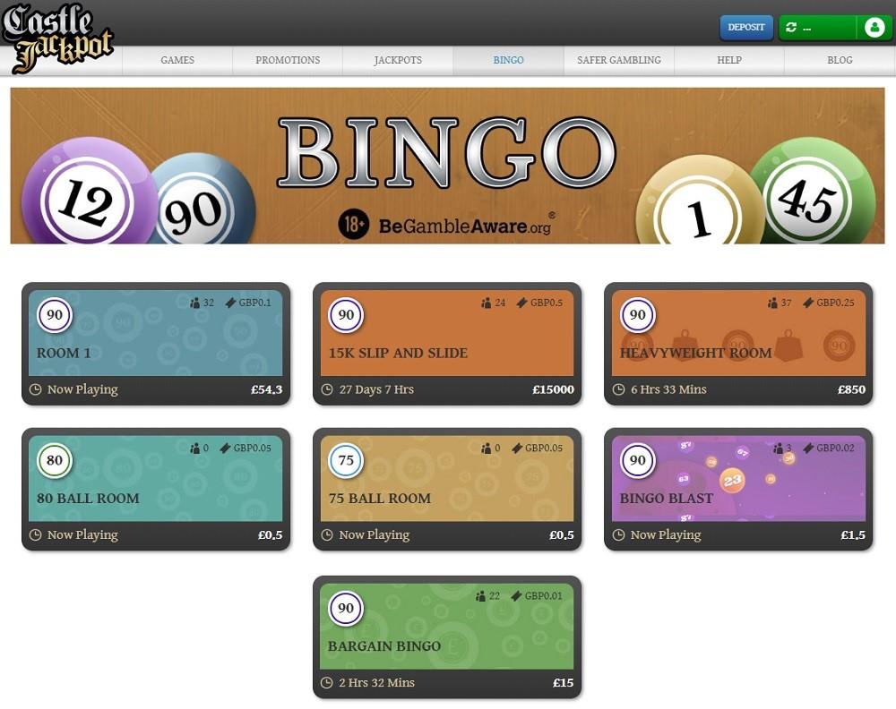 Castle Jackpot Bingo Members Area