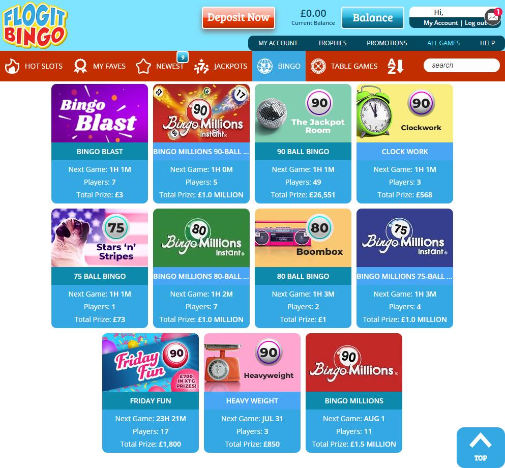 Flog It Bingo Members Area