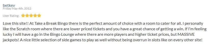 Take a Break Bingo Player Review 5