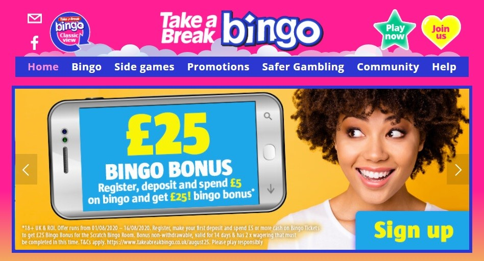 Take a Break Bingo Website