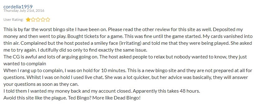 Ted Bingo Player Review 2