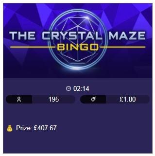Virgin Bingo The Crystal Maze Bingo